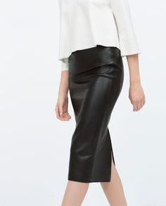 Image 3 of FAUX LEATHER MIDI PENCIL SKIRT from Zara