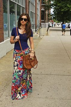 Floral maxi skirt and navy v-neck tee. Great combo for spring when the nights are still cool and the patterns still floral.