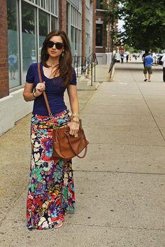 La Mariposa floral maxi skirt and navy shirt