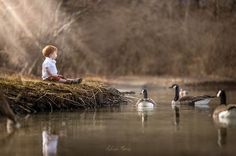 Little boy at the pond making new friends with the geese #LIFE #LOVE #HAPPY