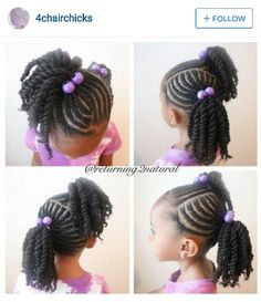 Ponytails in cornrows and corkscrews