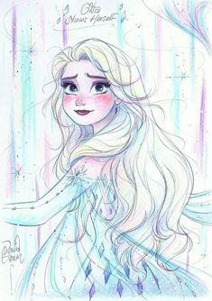 Disney Princess Sketches, Disney Princess Art, Disney Sketches, Disney Fan Art, Disney Drawings, Disney Movie Collection, Frozen Drawings, Frozen Fan Art, Frozen Pictures