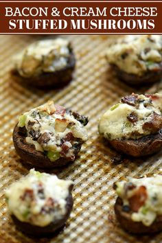 Easy stuffed mushrooms recipe with cream cheese and bacon are a guaranteed party hit Bursting with creamy smoky and earthy flavors they re a crowd favorite Tailgate Appetizers, Yummy Appetizers, Appetizers For Party, Appetizer Recipes, Mushroom Appetizers, Party Snacks, Tailgating, Dinner Recipes, Mushroom Recipes