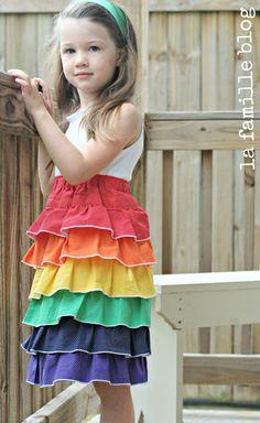 rainbow tutorial- layered polka dot dress