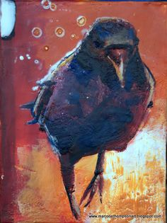 Marji Waller Thompson  - Encaustic Crow