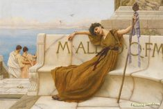 A priestess of bacchus Artwork by John William Godward Hand-painted and Art Prints on canvas for sale,you can custom the size and frame