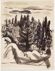 Fairfield Porter, Great Spruce Head Island, Maine captures my connection to the land at my cottage Fairfield Porter, Art Archive, Art Party, Landscape Paintings, Landscapes, American Artists, Art Pictures, Painting & Drawing, Watercolor Art