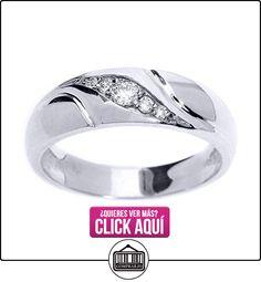 Pequeños Tesoros - Anillos Hombres Alianza De Boda 10 Kt Oro Blanco 471/1000 Diamante  ✿ Joyas para hombres especiales - lujo ✿ ▬► Ver oferta: http://comprar.io/goto/B0127HPTEK