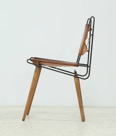 Allan Gould Minimalist Leather and Iron Chair, USA, 1950s For Sale at 1stdibs