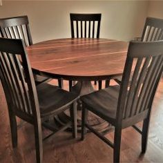 Round Tables Joliet, IL - Rustic Elements Furniture 60 Inch Round Table, Round Tables, Walnut Table, Custom Furniture, Dining Table, Rustic, Pedestal, Wood, Natural