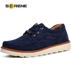 SERENE Men's Suede Leather Shoes Casual Walking Shoes Comfortable Skid Flats Lace-up Shoes Zapatillas Hombre Classic Joker 6160