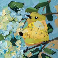 Yellow Warbler no. 130 Original Bird Oil Painting by Angela Moulton 6 x 6 inch on Panel pre-order by prattcreekart on Etsy