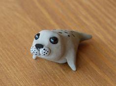 Tiny seal  Handmade miniature polymer clay animal by AnimalitoClay, $25.00