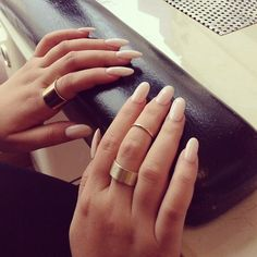 Neutral nails....love the rings