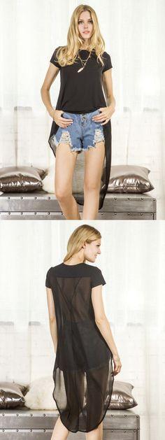 Black Hi-Lo Chiffon Panelled Back Short Sleeve Loose T-shirt