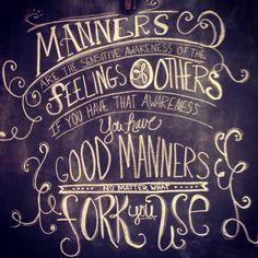 Manners chalk wall art