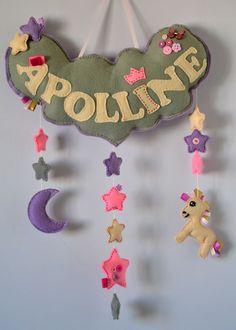 feutrine / licorne / lune / étoile / couture / Felt Banner, Alphabet, Names, Baby Sewing, Unicorn, Moon, Felt Fabric