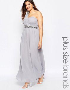 Little Mistress Plus | Little Mistress Plus One Shoulder Embellished Maxi Dress at ASOS