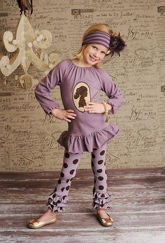 Leah Graphic Top, Purple Dot Triple Ruffle Leggings, Purple Feather Headband