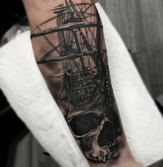 Superb Pirates Ship And Skull Forearm Tattoo Made By Expert