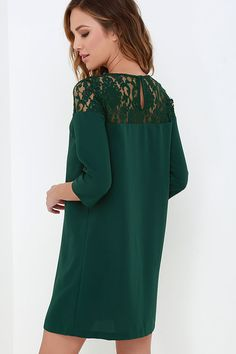 BB Dakota Keagan Dark Green Lace Dress