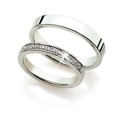 14k White Gold Couple Wedding Rings 0.15 carats 3 mm, 4 mm