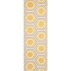 Safavieh Dhurrie Weldon Flatweave Wool Runner Rug, Ivory/Yellow, White