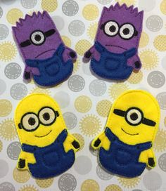 I can't wait for the Minion Movie next month. How cute are these guys? Helper Finger Puppets by MyEndlessCreations on Etsy