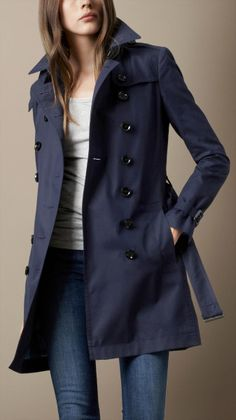 Burberry Brit Blue Midlength Cotton Poplin Trench Coat