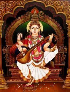 V Saraswati Statue, Saraswati Goddess, Goddess Art, Shiva Shakti, Durga Maa, Mysore Painting, Rajasthani Painting, Tanjore Painting, Lord Shiva Painting