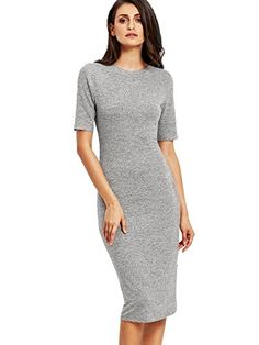 SheIn Womens Short Sleeve Elegant Sheath Pencil Dress Large Grey >>> Be sure to check out this awesome product.