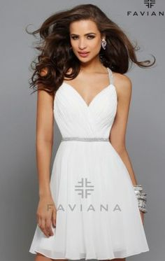 Ruched Chiffon Dress by Faviana 7663