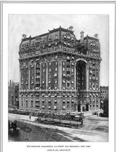 The Dorilton Building, NYC, designed by Janes & Leo c. This building is still there--on Street and Broadway. New York Architecture, Vintage Architecture, Amazing Architecture, New York Street, New York City, Old Mansions, Abandoned Mansions, New York Pictures, Nyc