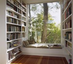 I love...love...love build ins and throw in books and a book nook....that =heaven to me!