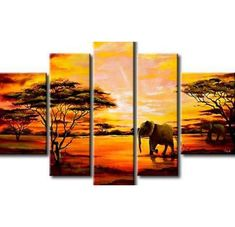 Extra Large Wall Art, African Elephant and Tree Painting, African Painting, Bedroom Canvas Painting, Buy Art Online Painting Size: (total 5 panels) (total 5 panels) Buy Paintings Online, Online Painting, African Wall Art, Bedroom Canvas, African Paintings, Extra Large Wall Art, Colorful Paintings, Tree Paintings, Queen