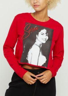 29070b83ccac9 Selena Long Sleeve Red Crop Top