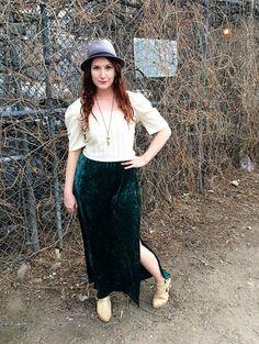 020a7d770421c Vintage Velvet Skirt Long Straight Teal Skirt by RachelleRose Teal Skirt