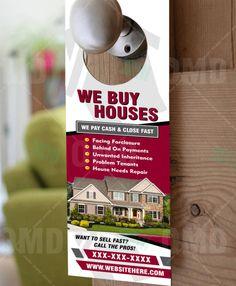 We Buy Houses Door Hangers For Investors Real Estate Ads, Real Estate Business, Real Estate Investor, Real Estate Marketing, We Buy Houses, House Doors, Door Knockers, Diy Storage, Door Hangers