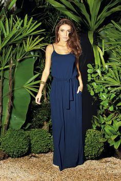 Vestido Longo Azul Marinho com Alças