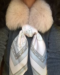 MaiTai fox fur collar in Champagne with Marni cashmere cardigan and Mondi silk scarf