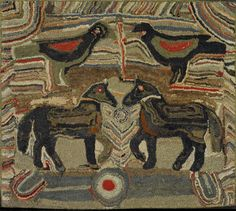 EXCEPTIONAL PENNSYLVANIA PICTORIAL HOOKED RUG BY MAGDALINA BRINER. CIRCA 1885. 46 X 50 INCHES  Sold: $37,120 ($32,000)