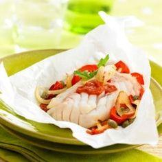 papillotes de cabillaud à la provençale et salsa aux épices douces