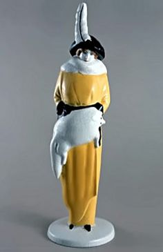 Eduard Klubina: Figurine – Lady in Fur / Vienna, 1913/14