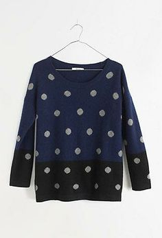 Madewell colorblock dotted crewneck sweater.