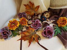 Нandmade felting .Валяні брошки у вигляді квітів, листочків. Виготовлені з вовни австралійського мериносу. Кріплення - защіпка