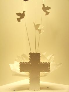Doves & Cross Christening Balloon Centerpieces  by SetToCelebrate, $14.95