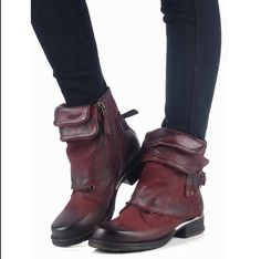 Womens Fashion Punk 100% Leather Buckle Strap Womens Zipper Fashion Ankle Boots
