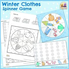 Teach your kids winter clothes words with this fun, free printable spinner game! Make the spinner, then play and see who is the first to complete a line of snowflakes!