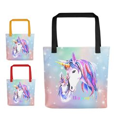 Unicorn Tote Bag, Unicorn Gift, Unicorn Bag, Unicorn Library Bag, Unicorn Carry All, Painted Unicorn with Foal Tote Bag, Choose Handle Color by UnicornGiftsFor on Etsy Library Bag, Pile Of Books, Unicorn Gifts, Girls Bags, Print And Cut, Grandparents, Grandchildren, Unicorns, Reusable Tote Bags