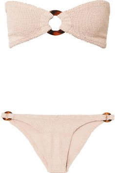 HUNZA G   Gloria embellished seersucker bandeau bikini   NET-A-PORTER.COM